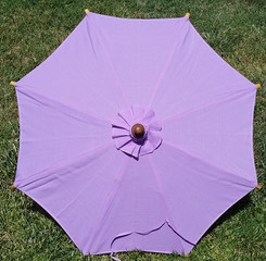 Hand held canvas umbrella, violet color