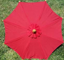 Hand held canvas umbrella, red color