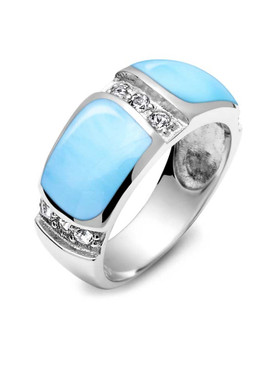 MarahLago Marina Larimar Band Ring with White Topaz - 3x4