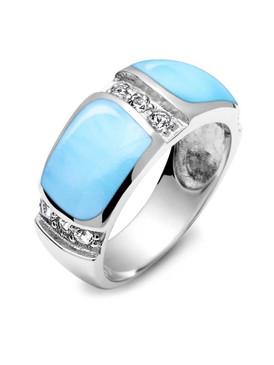 MarahLago Marina Larimar Band Ring with White Topaz - 3x4