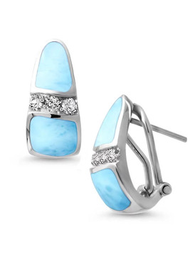 MarahLago Marina  Larimar Earrings with White Topaz - 3x4
