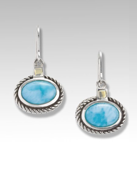 MarahLago Justica Sterling Silver and 18K Gold Larimar Earrings (light gold)