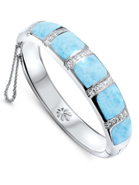 MarahLago Marina Collection Larimar Bangle Bracelet with White Topaz