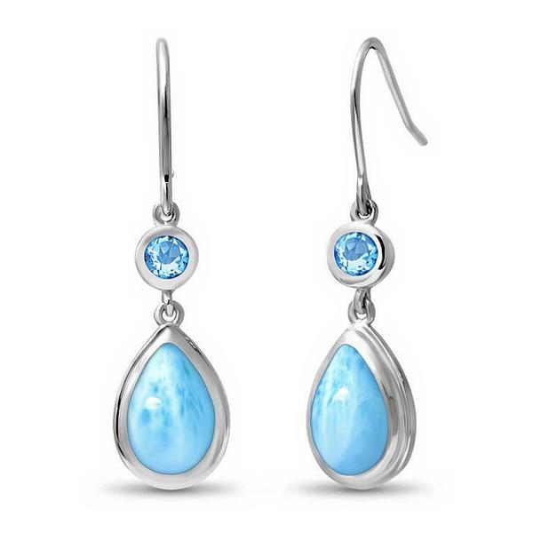MarahLago Atlantic Larimar Earrings with Blue Topaz