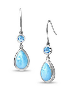 MarahLago Atlantic Collection Larimar Earrings with Blue Topaz