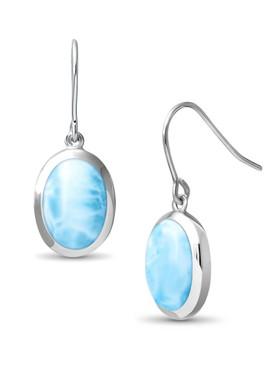 MarahLago Basics Collection Oval Dangle Larimar Earrings  - 3x4
