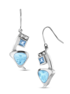 MarahLago Curva Larimar Earrings with Swiss Blue and White Topaz - 3x4