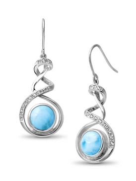 MarahLago Dante Larimar Earrings with White Topaz -3x4