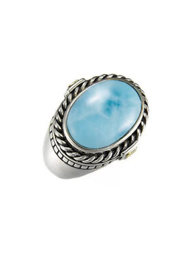 MarahLago Justica Collection Sterling Silver and 14K Gold Larimar Ring