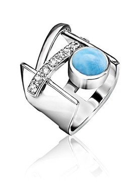 MarahLago Dante Larimar Ring with White Topaz