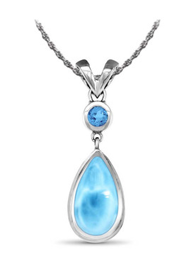 MarahLago Atlantic Collection Larimar Necklace with Blue Topaz - 3x4