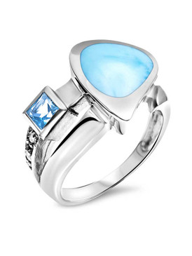 MarahLago Curva Larimar Ring with Blue and White Topaz