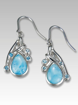 MarahLago Pacifica Larimar Earrings with Blue Topaz