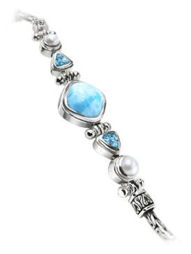 MarahLago Azure Larimar Bracelet with Blue Topaz & Pearls