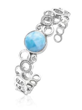 MarahLago Verity Larimar Cuff Bracelet with White Sapphire - 3x4