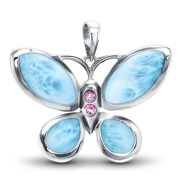 MarahLago Wildlife Larimar Butterfly Necklace