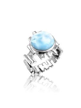 MarahLago Shikari Larimar Ring with White Sapphire - 3x4