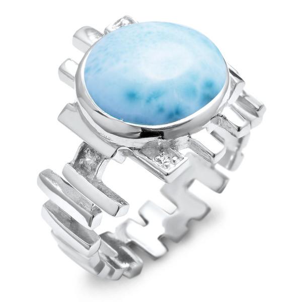 MarahLago Shikari Larimar Ring with White Sapphire