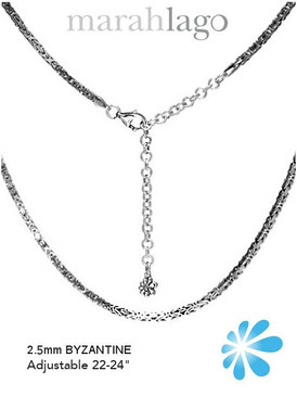 MarahLago Sterling Silver Adjustable Byzantine Chain 3x4 2.5