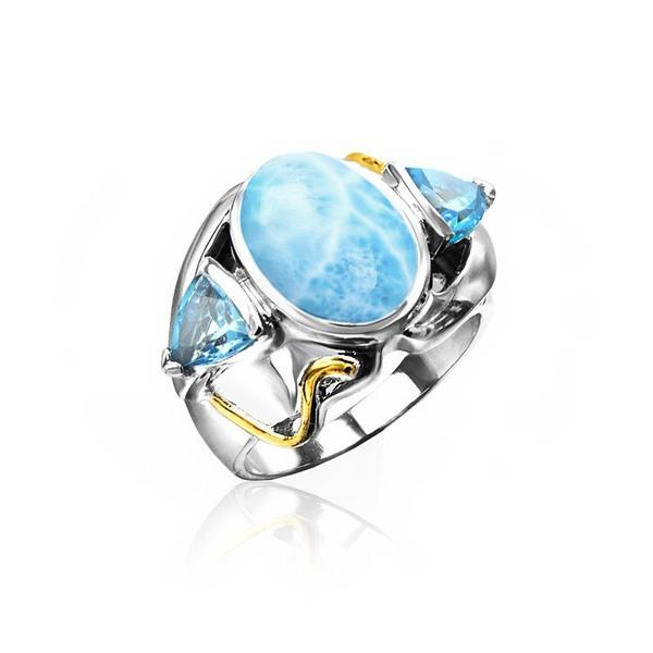 MarahLago Lena Larimar Ring with Blue Topaz