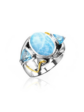 MarahLago Lena Collection Larimar Ring with Blue Topaz