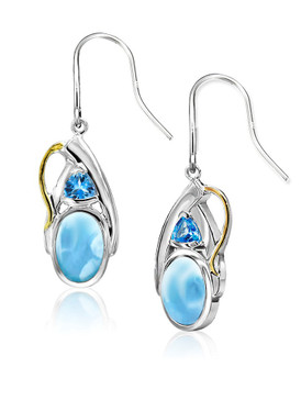 MarahLago Lena Collection Larimar Earrings with Blue Topaz