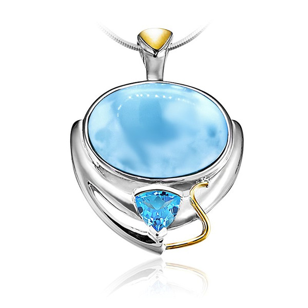 Marahlago lena larimar pendant necklace with blue topaz larimarket marahlago lena larimar pendant with blue topaz aloadofball Image collections