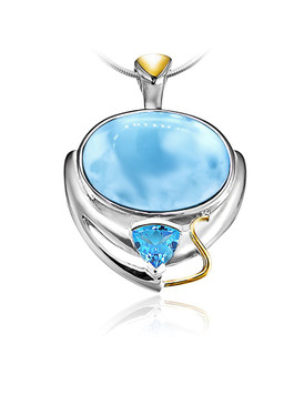 MarahLago Lena Collection Larimar Necklace with Blue Topaz