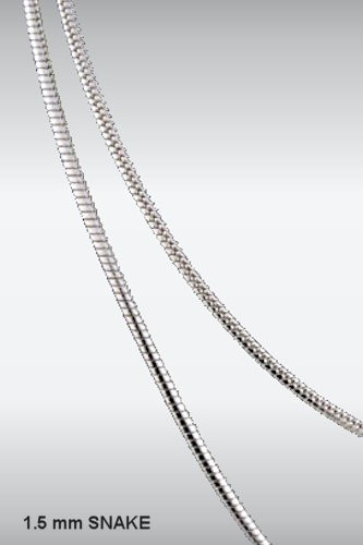 1.5mm Sterling Silver Snake Chain