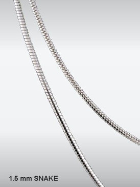 1.5mm Sterling Silver Snake Chain - 3x4