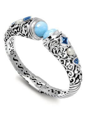 MarahLago Oceana Collection Larimar Cuff with Blue Topaz & Pearl