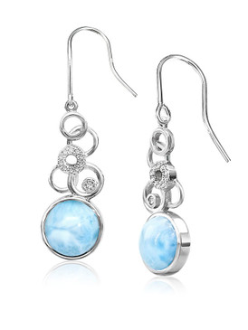MarahLago Verity Collection Larimar Earrings with White Sapphire - 3x4