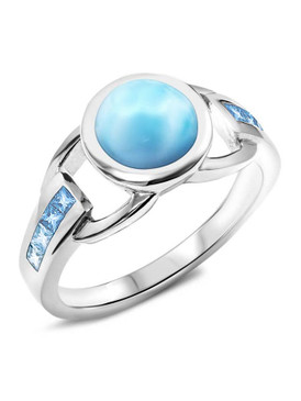 MarahLago Aqua Collection Larimar Ring with Gradient Blue Topaz