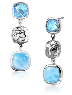 MarahLago Faceta Collection Larimar Earrings with Blue Topaz