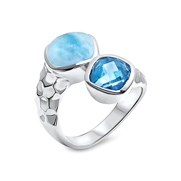 MarahLago Faceta Larimar Ring with Blue Topaz