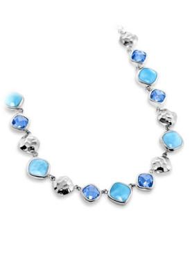 MarahLago Faceta Collection Larimar Necklace with Blue Topaz