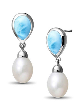 MarahLago Alisa Collection Larimar Dangle Pearl Earrings