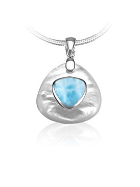 MarahLago Nadia Collection Larimar & Mother of Pearl Pendant