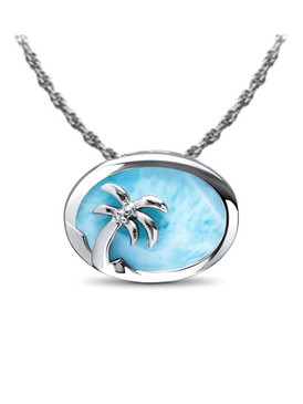 MarahLago Marine Life Collection Larimar Palm Tree Larimar Slide Pendant