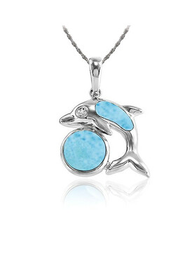 MarahLago Marine Life Collection Larimar Dolphin Necklace - rope chain Dec2019