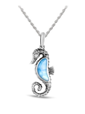 MarahLago Marine Life Collection Larimar Seahorse Necklace (oxidized) - 3x4
