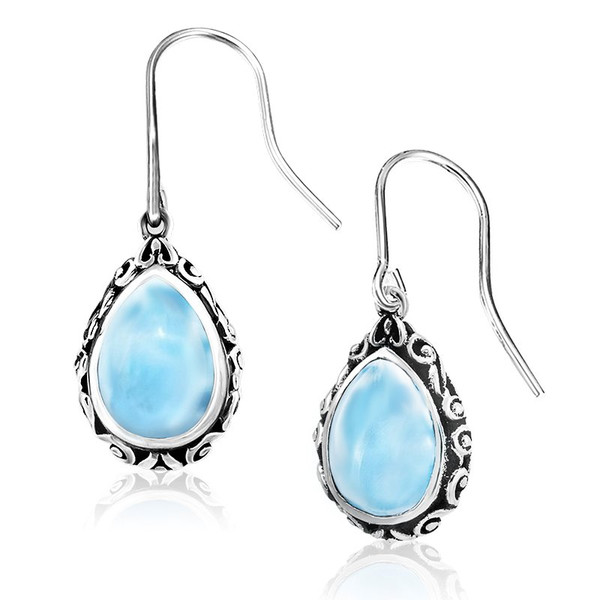 gemstone handmade larimar etsy blue market sterling earrings silver stud dominican il