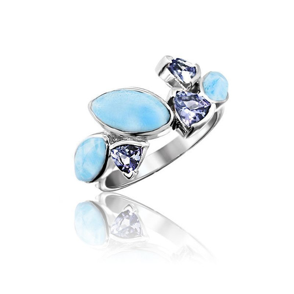 MarahLago Paloma Collection Larimar Ring with Tanzanite