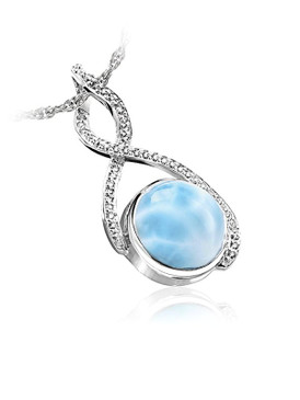 MarahLago Adella Collection Larimar Necklace with White Sapphires