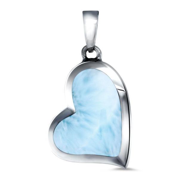 MarahLago Floating Heart Larimar Pendant or Necklace
