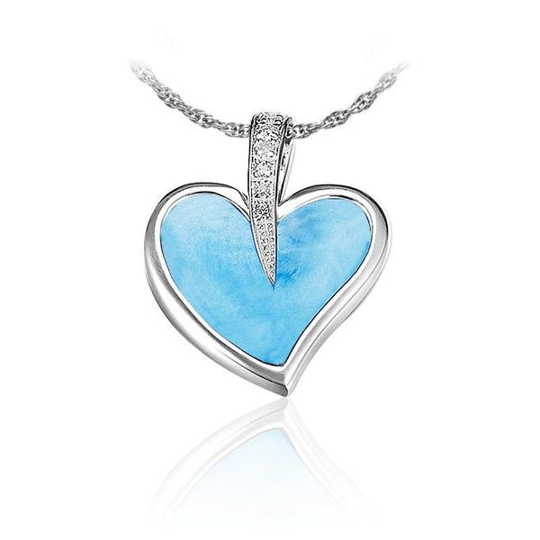 MarahLago Pezullio's Larimar & White Sapphire Heart Necklace