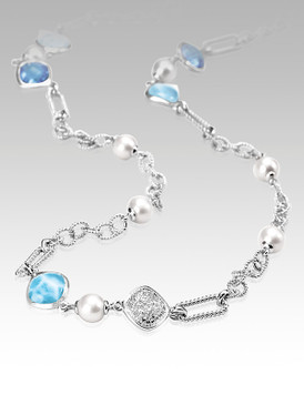 MarahLago Luxe Collection Larimar Necklace with Pave White Sapphire, Blue Topaz & Pearls - 3x4