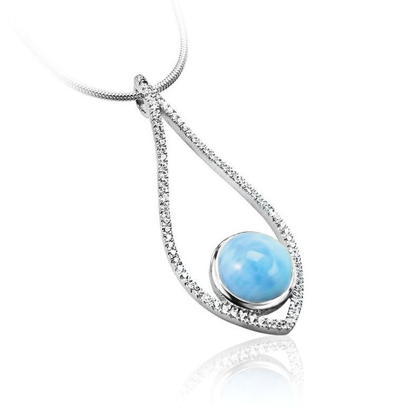 MarahLago Alto Collection Larimar Pendant/Necklace with White Sapphire