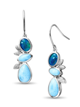 MarahLago Arbol Larimar Earrings with Australian Opal - New Style - 3x4