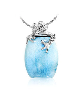 MarahLago Wildlife Collection Larimar Tree Frog Necklace